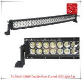 도로 빛과 LED 모는 빛 떨어져 SUV 차 LED를 위해 방수 31.5inch 180W 두 배 줄에 의하여 구부려지는 LED 표시등 막대의 LED 차 빛