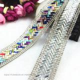 Libero con la cerimonia nuziale del Rhinestone colorata cristallo d'argento che lega il ferro in rilievo della catena del testo fisso dei Rhinestones di larghezza di 3cm sulla catena di cristallo di Hotfix (TS-049)