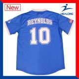 Irgendwelche Firmenzeichen-Sublimation-blauen Farben-Team-Sportkleidung-Baseball-Jersey-Hemden