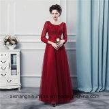 Lange Hülsen-Burgunder-Brautjunfer kleidet Qualitäts-Tulle-Brautjunfer-Kleider