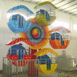 幸せな子供の遊園地の運動場は販売のための観覧車をからかう