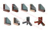 Алюминий сползая Windows с 2 цветами панелей и Teak