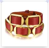 Pulsera del cuero de la joyería del cuero de la joyería del acero inoxidable (LB306)