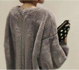 Signora semplice all'ingrosso Pullover Hoodie Dress, pannello esterno con lanugine/chiusura lampo