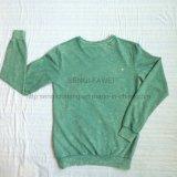 Premium verde dell'uomo tinto intorno alla maglietta felpata del collo nel ponticello di usura del Knit di sport copre Fw-8666