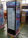 Refrigerador vertical da bebida da porta de vidro do supermercado com dossel