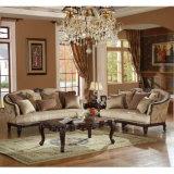 木フレームが付いている居間のソファーの骨董品ファブリックLoveseatのアメリカの椅子