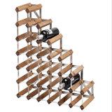 Estante de vino de metal y madera tiene escaleras 27 botellas de vino de plata Color