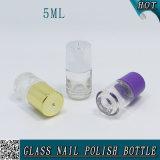 Bouteille en verre claire de balai du produit de beauté 5ml pour le gel de clou