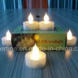 Pilier à piles sans flammes décoratif DEL Tealights artificiel d'église