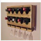 Estante montado en la pared rústico del vino de Upcycled, sostenedor de botella de vino 10