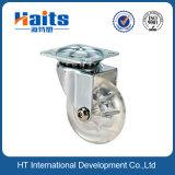 Transparente Platten-Rad-Fußrolle der Fußrollen-T mit Bremse