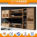 Cabinet de télévision en aluminium durable Combinaison Cabinet de salon Surface de transfert de grain de bois