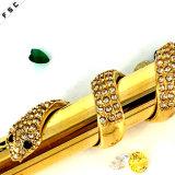 贅沢な流行の金の人のための水晶ステンレス鋼のヘビのペンダント