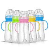 Haltbares Baby scherzt Silikon-Stroh-Flaschen-trinkende Flasche Sippy Flasche mit Griff-netter Entwurfs-führender Flasche