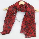Sciarpa rossa per gli scialli dell'accessorio di modo delle signore, sciarpa dell'albero di stampa di acquisto
