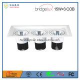 Bridgelux 옥수수 속 15W× 3개의 3 헤드 LED는 승인된 Ce&RoHS로 아래로 점화한다