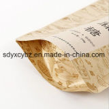 Größe kundenspezifischer Nahrungsmittelbraunes Packpapier Fastfood- Doypack Beutel mit Reißverschluss