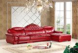 Sofà di cuoio, sofà del salone, sofà d'angolo, sofà domestico, sofà moderno, sofà di legno (UL-NS144)