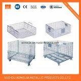Jaula bloqueable de la paleta del almacenaje del metal del envase del acoplamiento de alambre de acero del plegamiento resistente para la venta