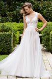 Vestido de casamento macio BRITÂNICO simples do verão da bainha de Tulle do desenhador