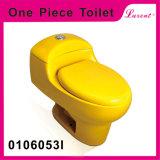 En céramique avec la toilette d'une seule pièce colorée de prix bas de salle de toilette de garnitures de réservoir