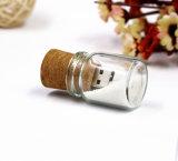 Regalo de cristal de madera al por mayor de Eco del mecanismo impulsor del flash del USB de la botella de deriva