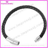 Bracelet d'aimant d'acier inoxydable de bracelet de cuir d'acier inoxydable