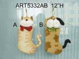 고양이와 개 크리스마스 스타킹 홈 훈장, 2 Asst