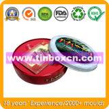 Runder Zinn-Kasten für Geschenk-verpackenkasten, Metallblechdose