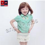 Kinder arbeiten beiläufiges Chiffon- kurzes Hülsen-Hemd für Sommer um