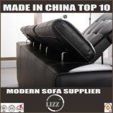 Schwarze echtes Leder-Möbel-speicherbares Sofa-Bett (LZ710)