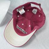 Vino rojo 6 paneles algodón lavado casquillo gorra de béisbol