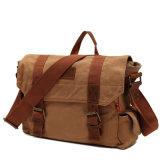 Fabbrica professionale del sacchetto del messaggero della tela di canapa di corsa del cuoio dell'annata dell'OEM (RS-H7301)