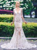 De robe de mariage de sirène d'Appliques de chemises de collet d'épuisette demi (Dream-100081)