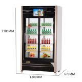 Refrigerador de vidro de abertura da bebida de dois multimédios das portas com tela do diodo emissor de luz