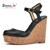 (Donna-в) сандалии клина высокой пятки пробочки женщин овчины лазера способа Полые-вне