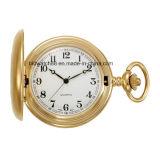 Dorado del Hombre en acabado satinado de cuarzo analógico reloj de bolsillo populares