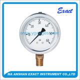 満ちている最下の接続の液体が付いている油圧Anti-Vibration圧力計