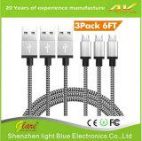 Высокоскоростным заплетенный нейлоном кабель Sync и обязанности b Micro USB 2.0