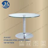 15mm das ausgeglichene Glas-Spitzenumlauf-Kaffeetisch mit 304 Edelstahl-Fuß löschen