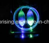 Cordón de la cinta de zapatos de la fibra de vidrio que contellea en el LED