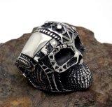 Negro mate masculino del acero inoxidable del anillo del cráneo del fantasma del timón