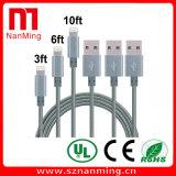 iPhone를 위한 튼튼한 USB 나일론 땋는 8개의 Pin 비용을 부과 및 Sync 번개 케이블