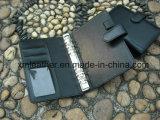 Faltblatt-Leder-Deckel-Faltblatt des Geschäfts-A5 mit Kartenhalter