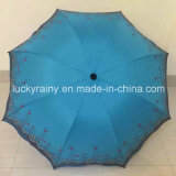 Lace를 가진 3 Folding Manual Open Umbrella Pongee Fabric