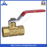 ISO228 rosca válvula de bola de latón con mango de hierro (YD-1019)