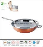 Wok chinois Wok de cuivre de 3 composés de pli