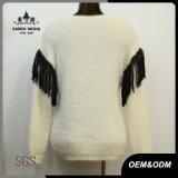 女性の方法V首の革フリンジの袖のセーター