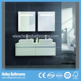 LED Touch Switch High Gloss Paint Double Basin Móveis de casa de banho Two Drawer (BF122D)